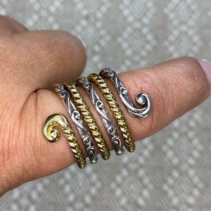 Sterling & Brass Ribbed Scroll Ring .925 sz 9